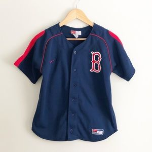 Red Sox Jersey Navy Blue Boys Embroidered Medium